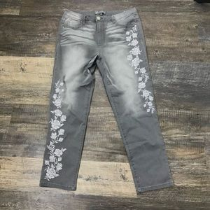 Wit and Wisdom Gray Embroidered Jeans